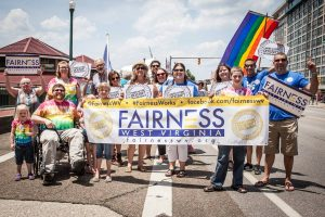 A group of Fairness supporters at Charleston's annual pride parade.