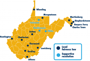 Map of every municipality in West Virginia with a local fairness law
