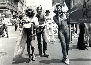Photo of activists at the Stonewall riots.
