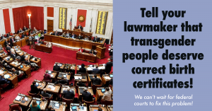 A graphic that encourages people to tell their lawmaker that transgender people deserve correct birth certificates