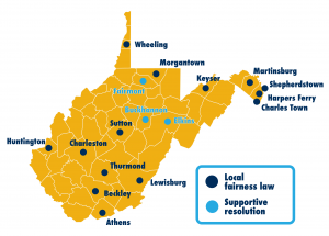 A map of all of the municipalities in West Virginia that have adopt a local fairness law. These municipalities include Huntington, Charleston, Thurmond, Beckley, Lewisburg, Athens, Wheeling, Morgantown, Martinsburg, Shepherdstown, Harpers Ferry, Charles Town and now Keyser.