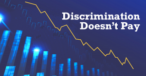 """Graphic of a downward trend line that reads; """"Discrimination Deficit"""""""